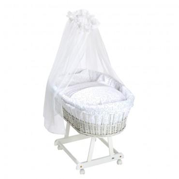 Pīts šūpulītis Birthe white + Tekstila komplekts «Hearts white»