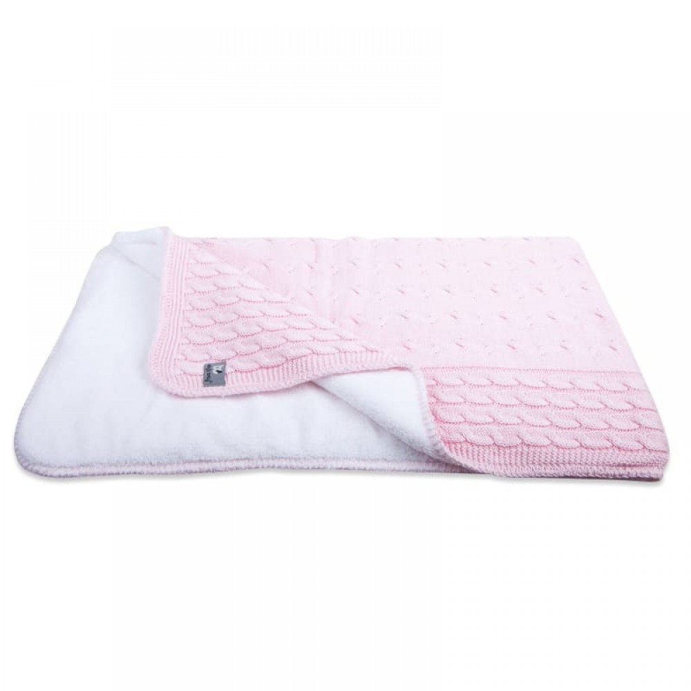 Baby crib blanket teddy Cable baby pink