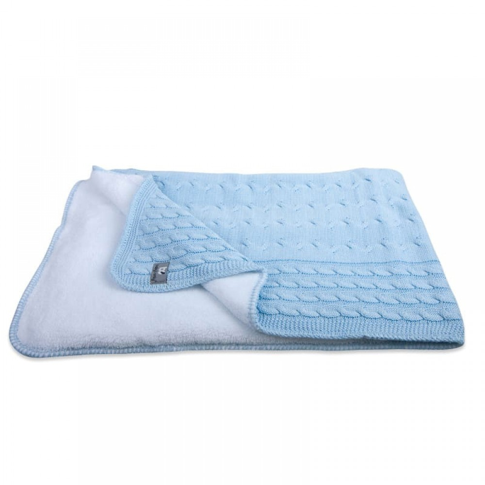 """Plēds Baby's Only """"Teddy Cable baby blue"""" 70 x 95 cm"""