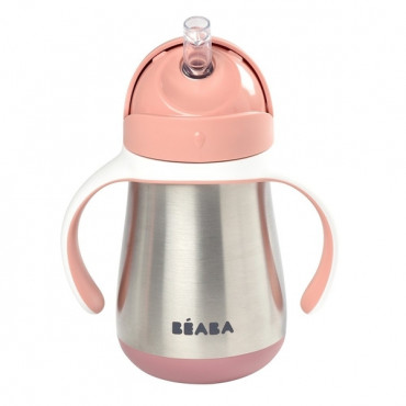 Metāliska mācību krūzīte ar caurulīti Beaba 250 ml, pink