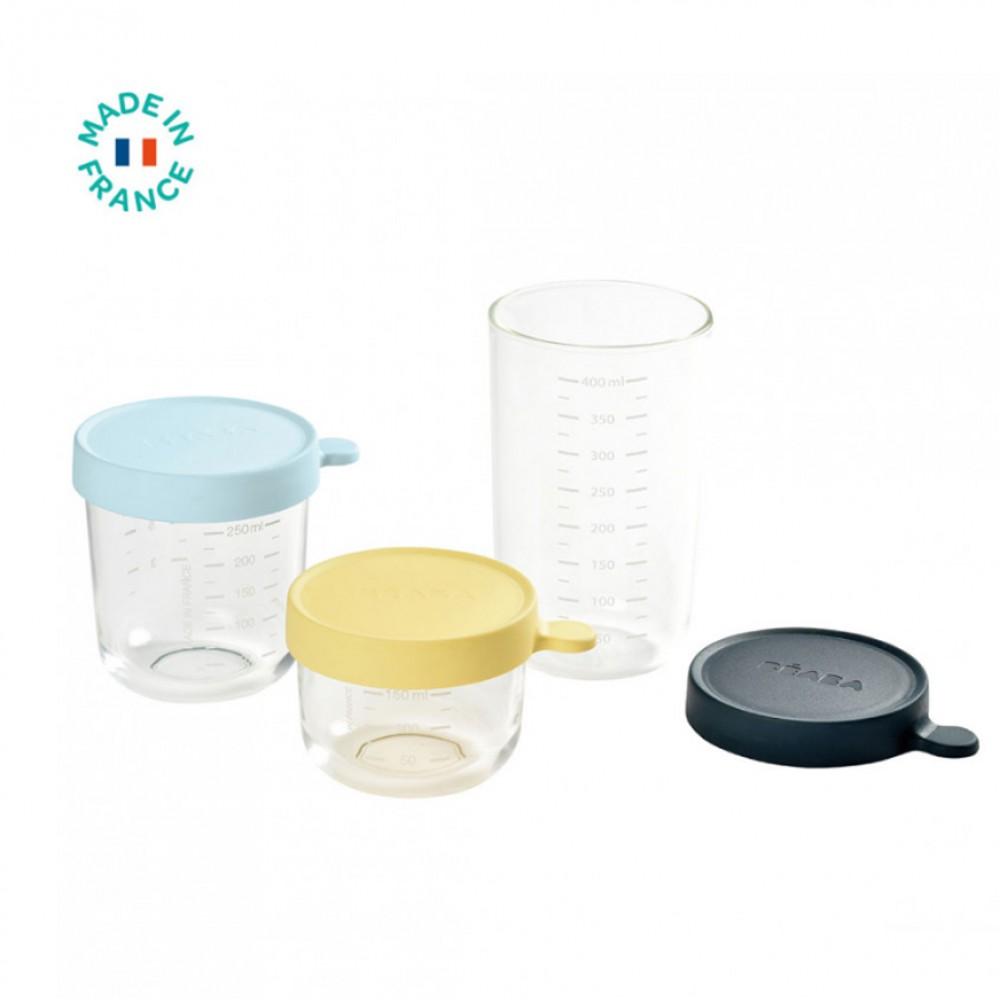 Stikla burciņu komplekts pārtikas uzglabāšanai ar silikona vāciņu, 3gab. (150ml + 250ml + 400ml)