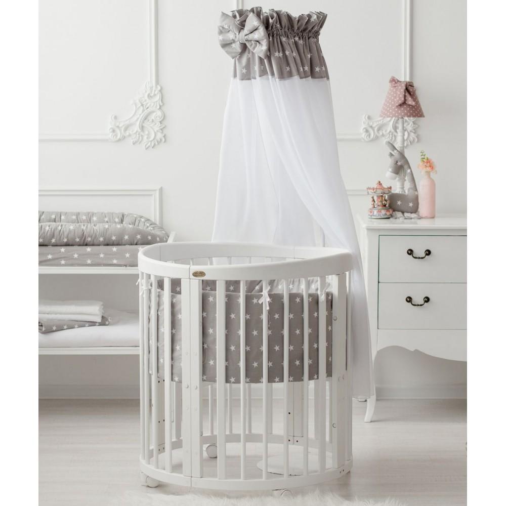 """Gultas veļas komplekts """"Klassik"""" bērnu gultiņai Smart Grow 7 vienā """"Grey with white stars"""""""