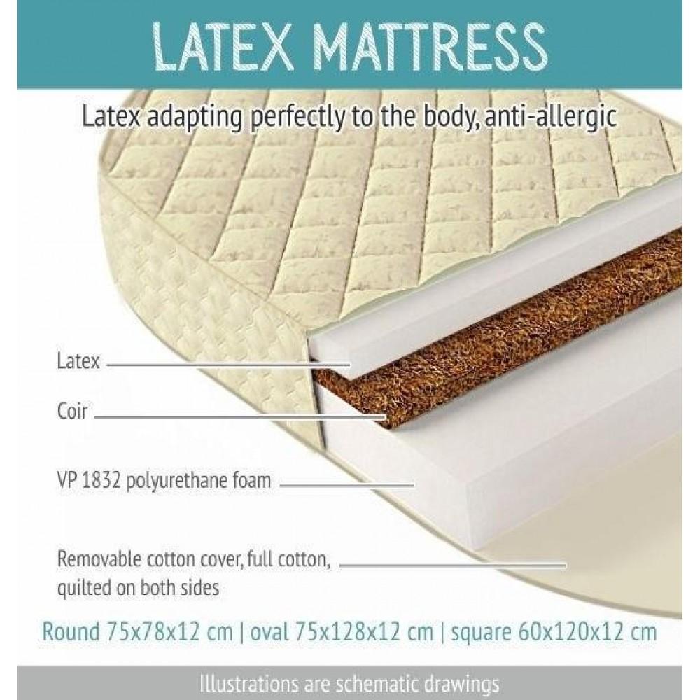 Matracis ar kokosu un lateksu gultiņai Smart Grow 7 vienā (Apaļš)