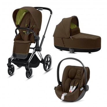CybexPriam 3 vienā: Rāmis Chrome black/brown + Khaki green
