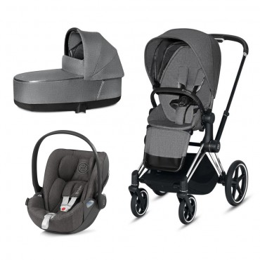 CybexPriam 3 vienā: Rāmis Chrome black/brown + Manhattan grey PLUS