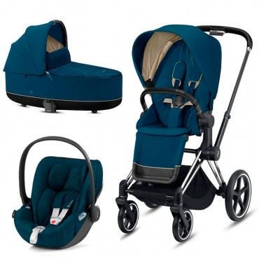 CybexPriam 3 vienā: Rāmis Chrome black/brown +  Mountain blue