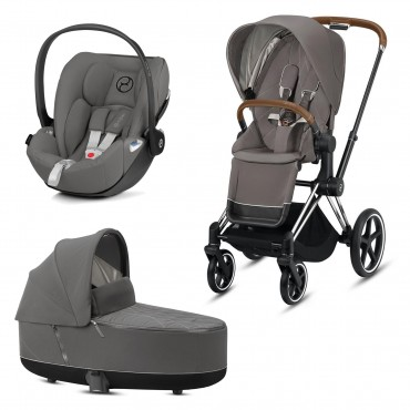 CybexPriam 3 vienā: Rāmis Chrome black/brown +  Soho grey