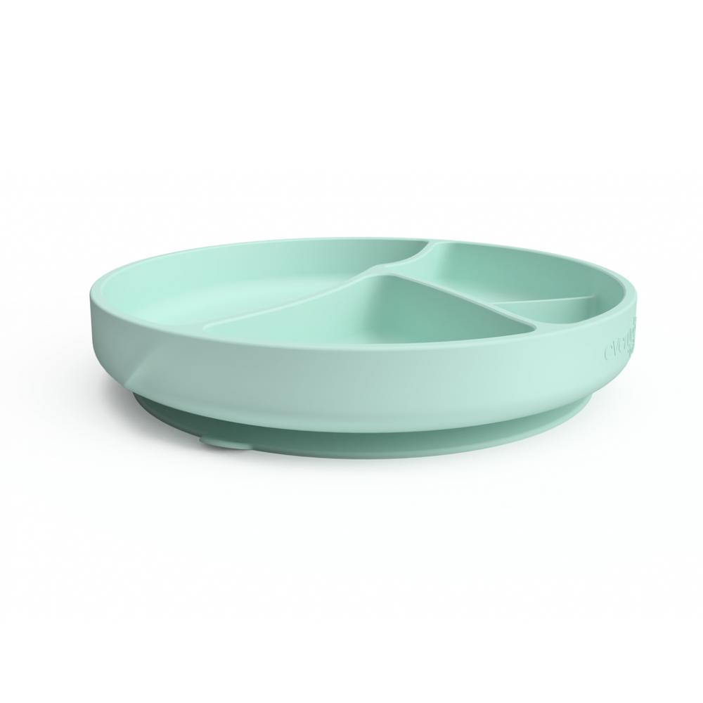 Silikona šķīvis ar iedaļām un piesūcekni Mint Green
