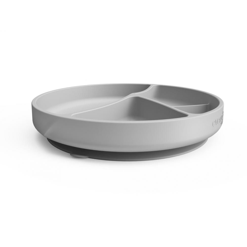 Silikona šķīvis ar iedaļām un piesūcekni Quiet grey