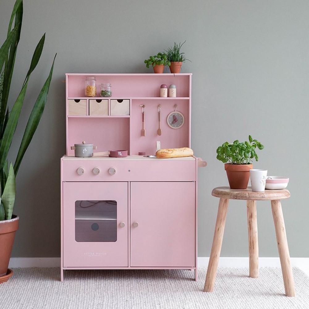 Koka rotaļu virtuve (pink) Little Dutch
