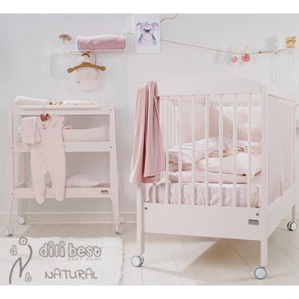Komplekts gulta Natural pink + pārtišanas kumode Natural pink + matracis, apmalītes un gultas veļa DĀVANĀ