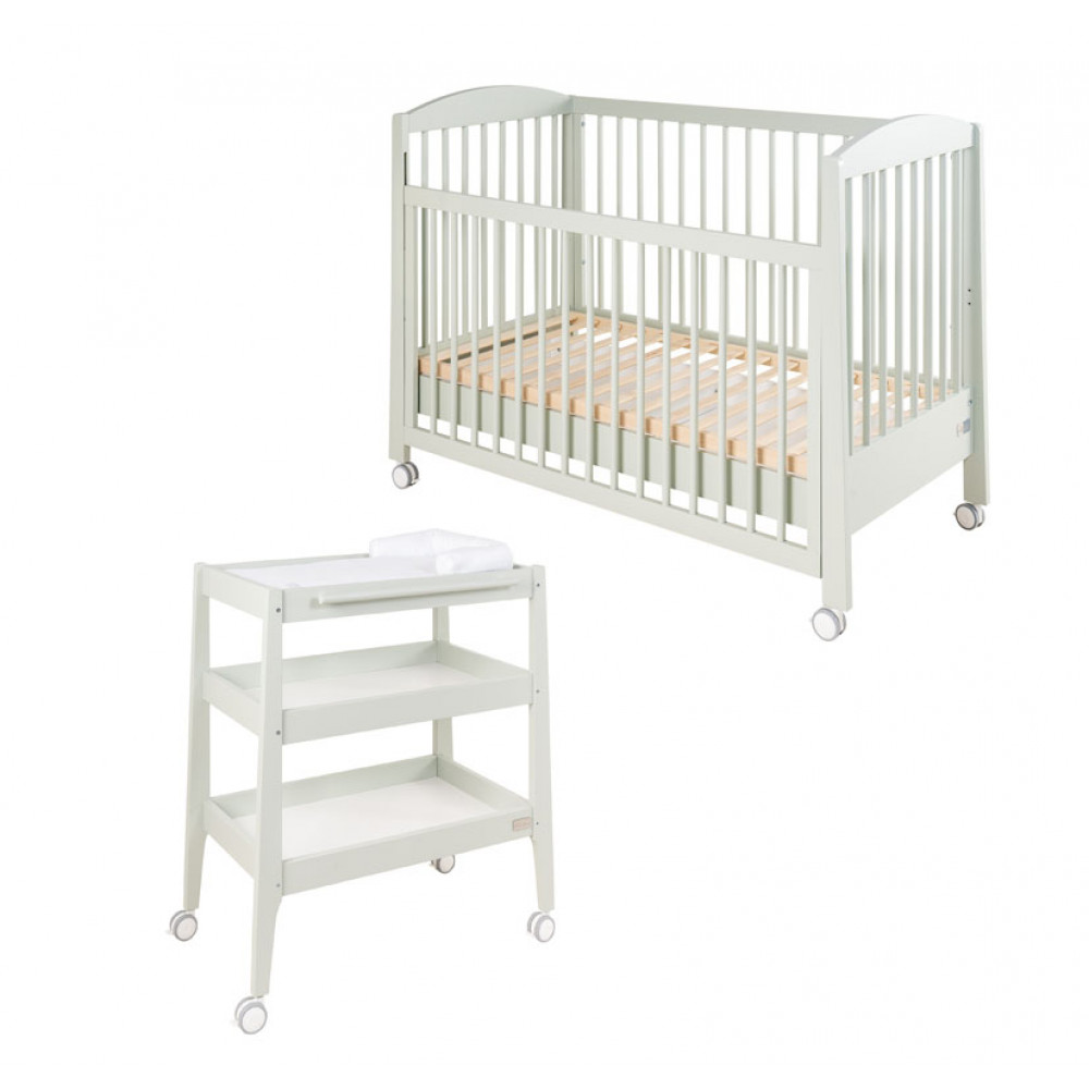 Komplekts gulta Natural green + pārtišanas kumode Natural green + matracis, apmalītes un gultas veļa DĀVANĀ