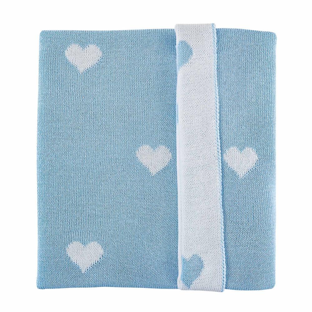 """Plēds PICCI """"Hearts Amelie blue"""" 100% vilna"""