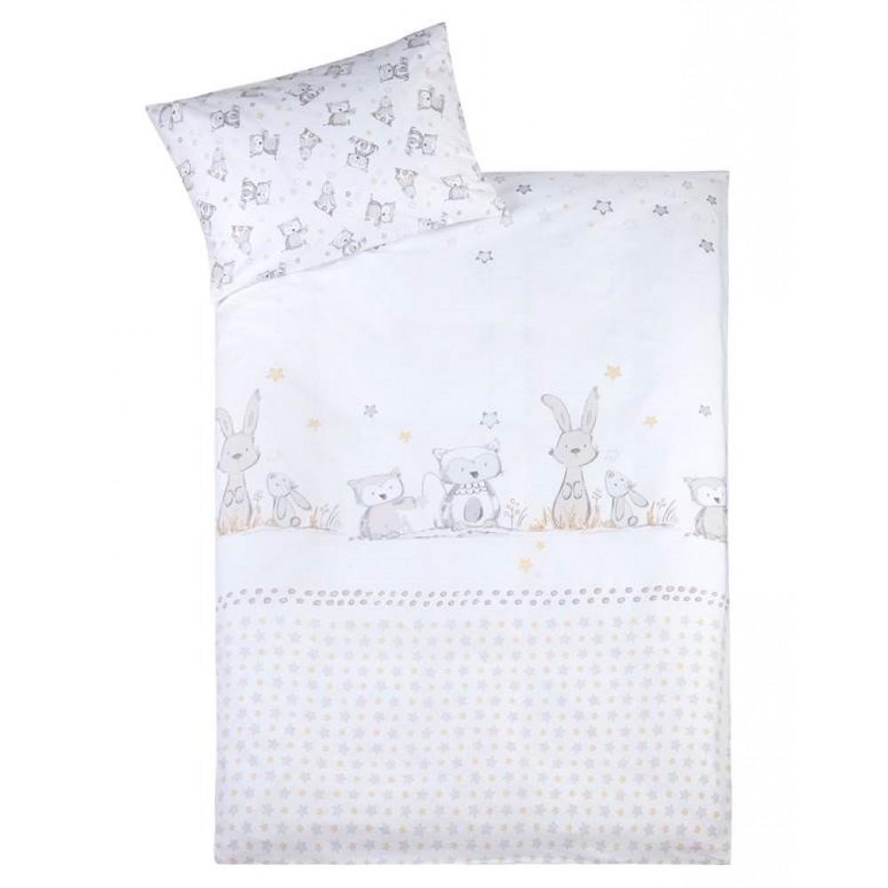 "Gultas veļas komplekts CLASSIC ""Bunny and Owl"" 100x135 + 40x60 cm"