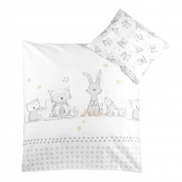 "Gultas veļas komplekts CLASSIC ""Bunny and Owl"" 80x80 + 35x40 cm"