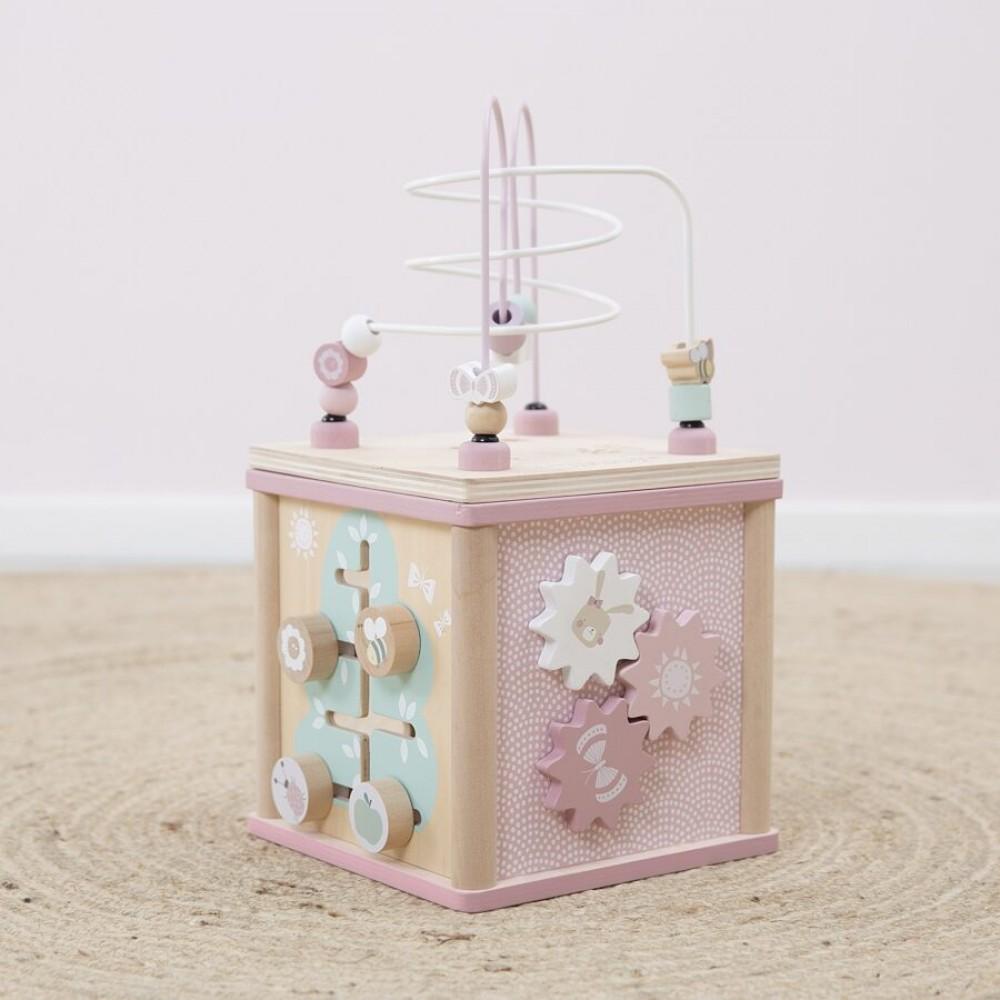 Wooden Activity cube Adventure pink Little Dutch
