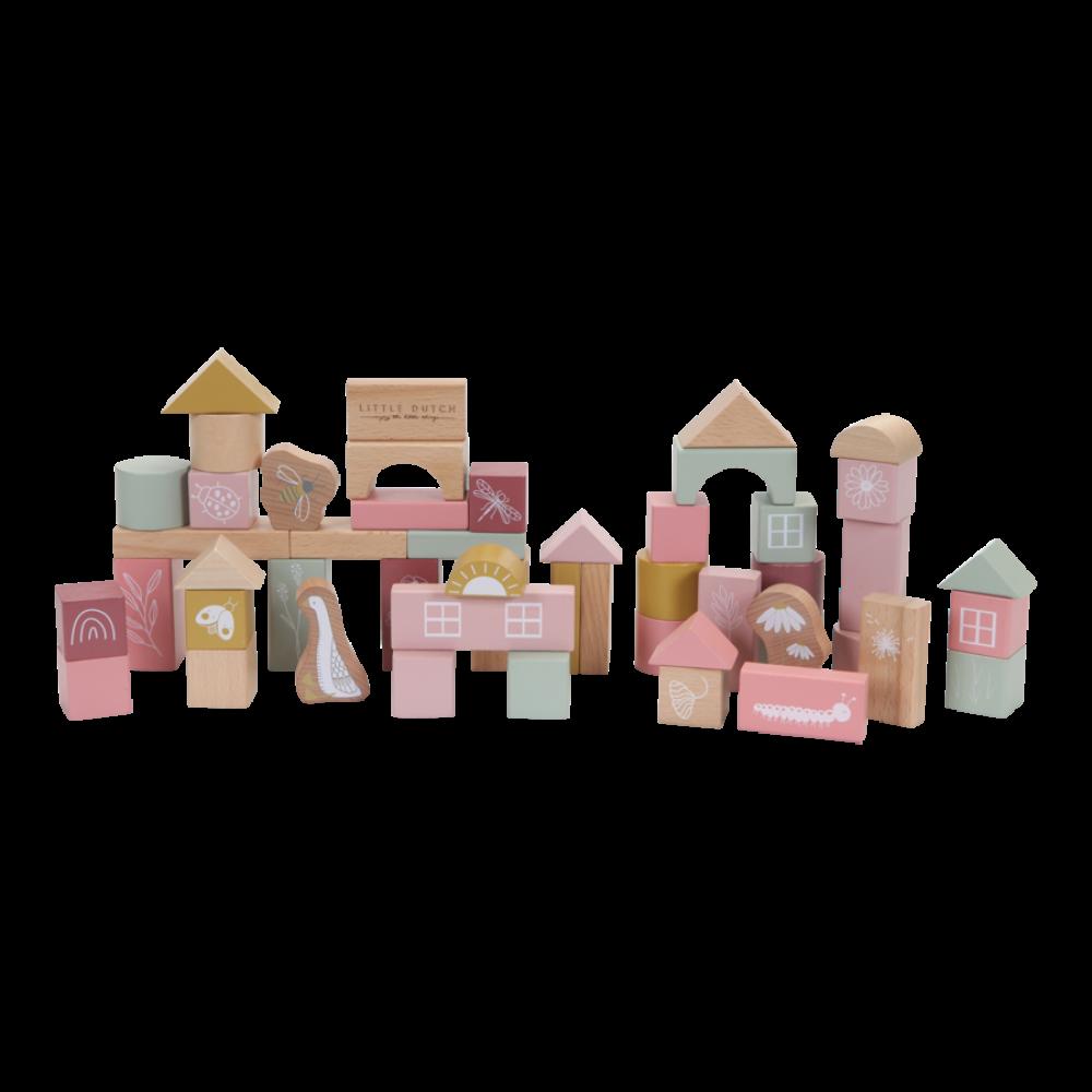 Koka klucīši Little Dutch, Building Blocks pink